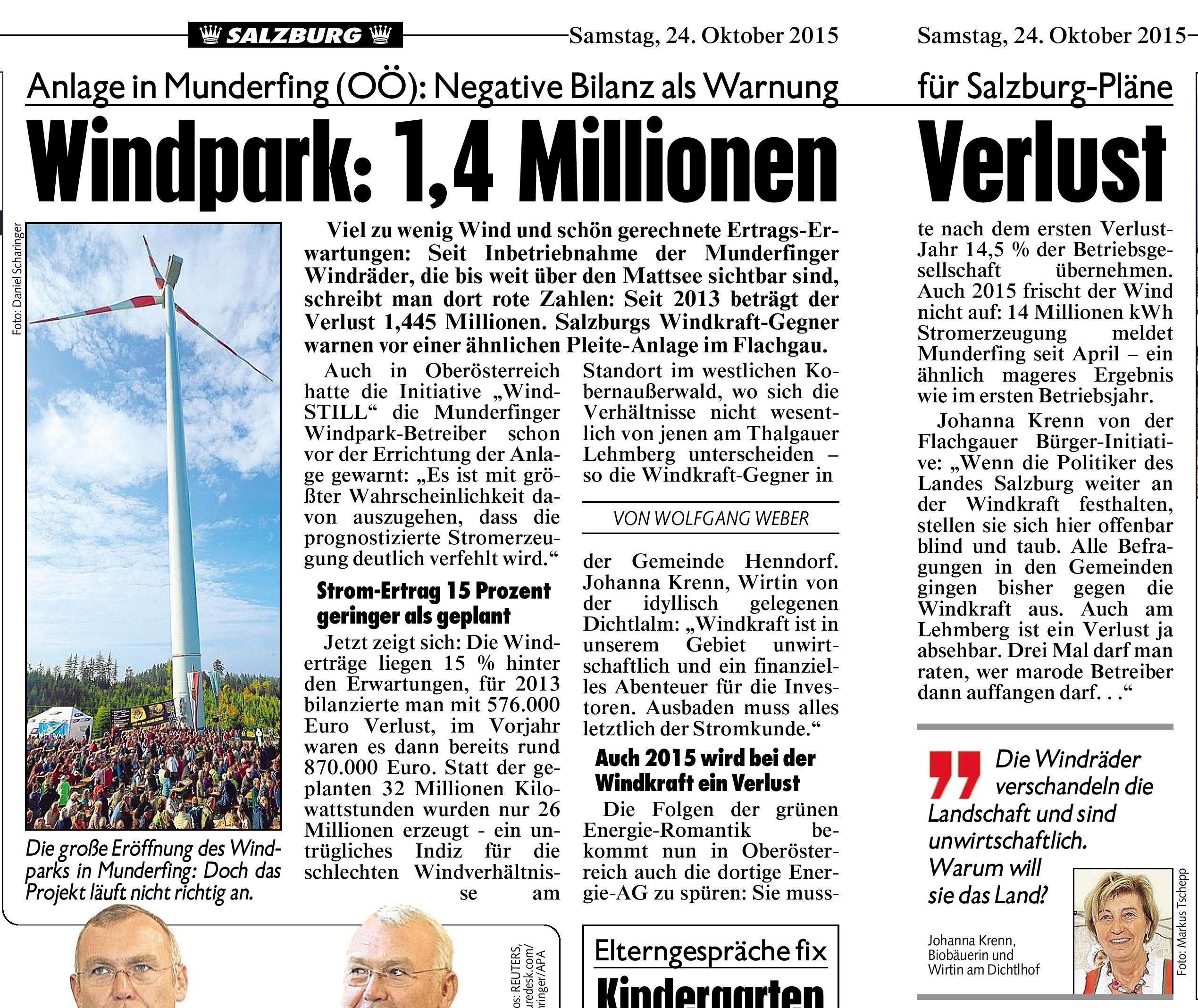 Krone Windpark Munderfing 1,4 Mio minus