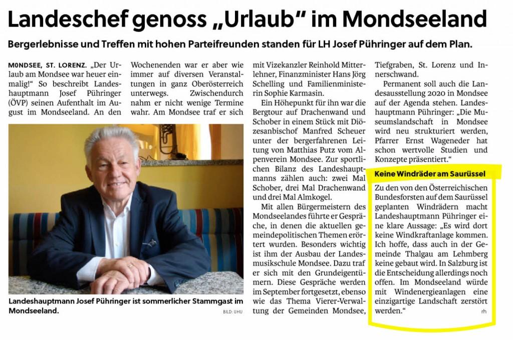 Klare Aussage des Landeshauptmann Dr. Josef Pühringer